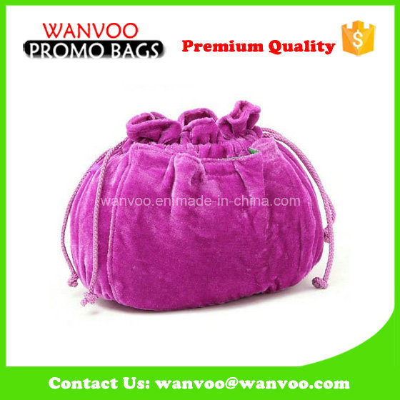 Large Purple Velvet Drawstring Elegant Cosmetic Bag for Gift