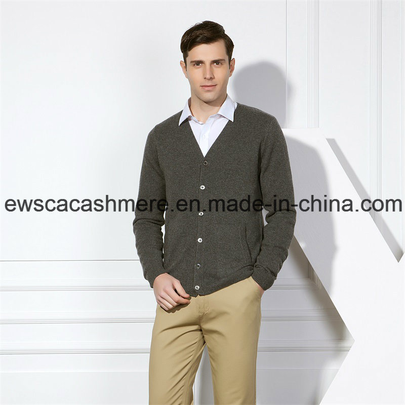 Men′s Hard Solid Color Pure Cashmere Sweater