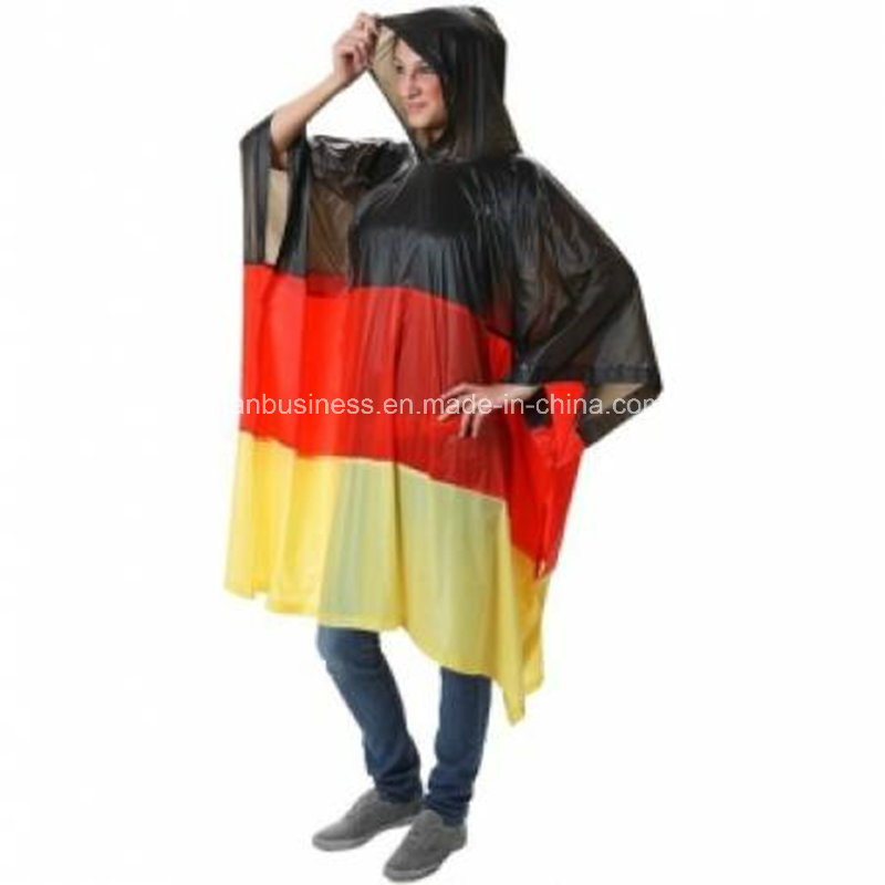 Flag PVC Raincoat Jacket with Hood for Emergency Weather