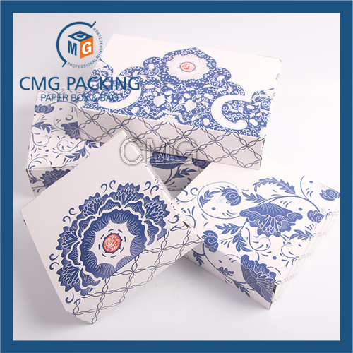 Unadorned Blue Flower Printing Small Paper Cake Box (CMG-cake box-009)