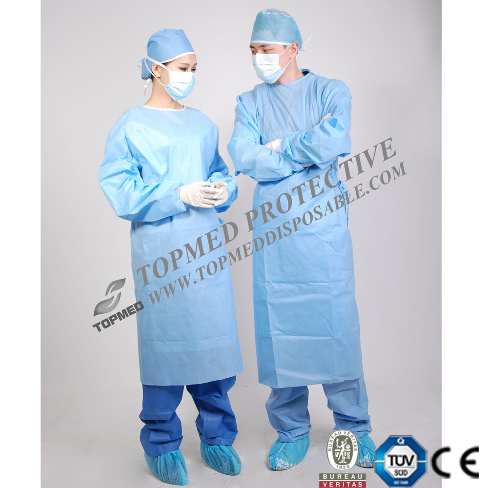 Ce Certificated Sterile SMS Reinforced Surgical Gown, Professional Manufacturer Medical Supply
