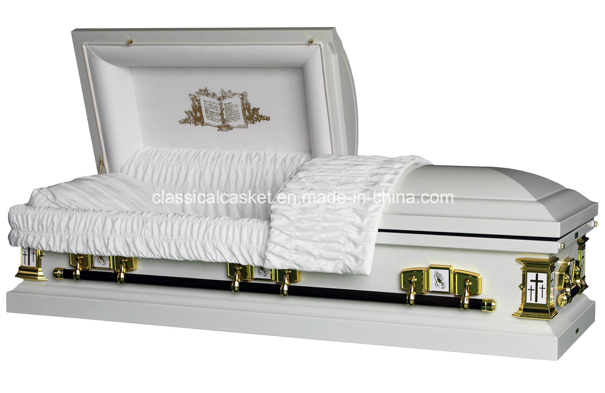 White Cross 18gaugse Steel Square Corner Casket