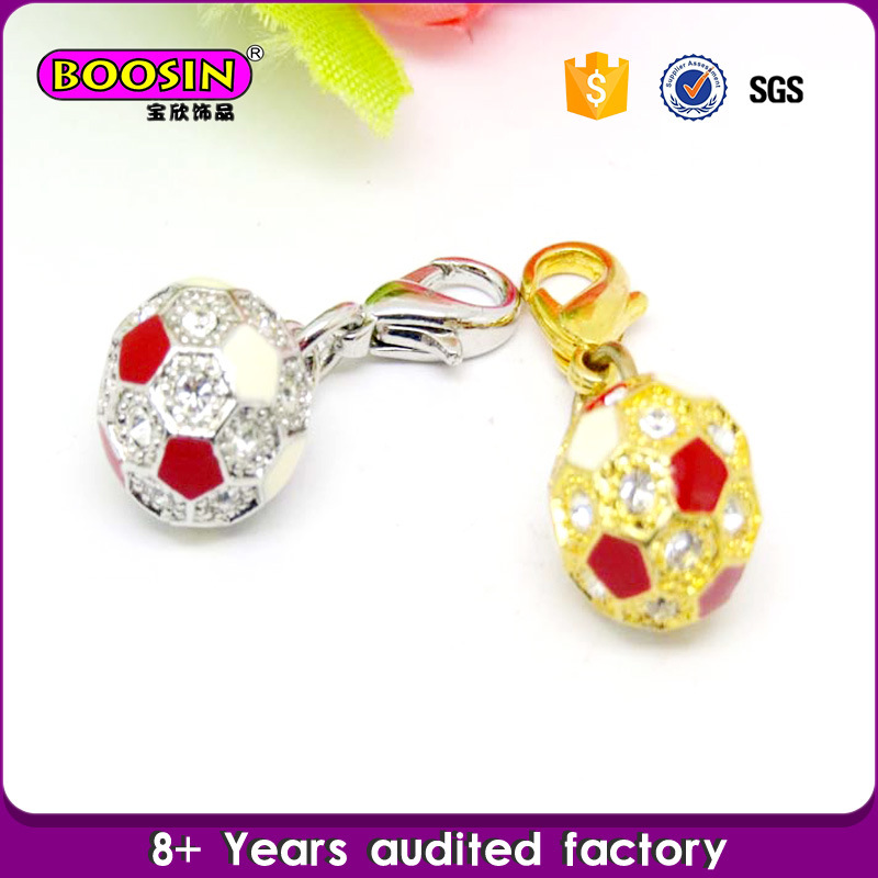 Guangzhou Wholesale Alloy Rhinestone Football Charm Jewelry