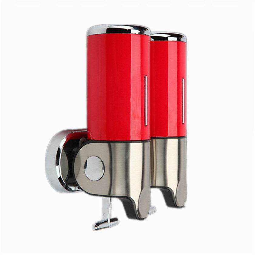 Red 500ml*2 Stainless Steel+ABS Plastic Wall-Mountained Liquid Soap Dispenser