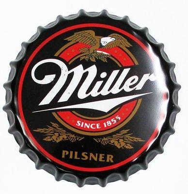 Decorative Signs Plaque Tin Sign Bottle Cap with Miller Logo