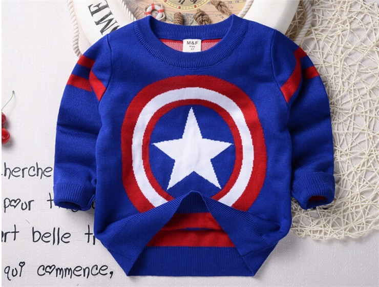T1208 New Arrival Wholesale Spring Autumn Baby Boy Shirt Kids Cotton Knitted Thicken Cartoon Pullover Clothing Children Bottoming Shirt