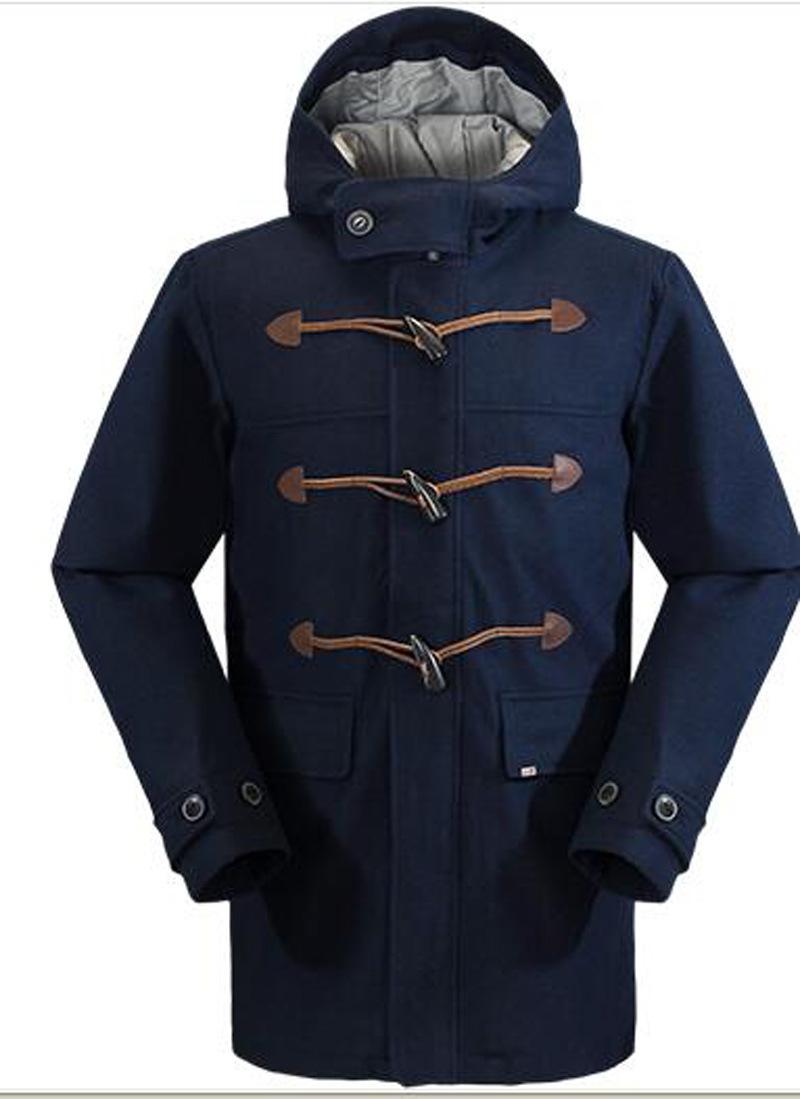 Mens Horn-Button Padded Winter Long Coat