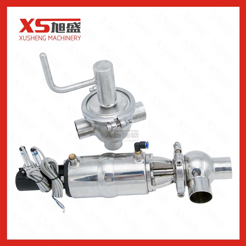Sanitary Stainless Steel SS304 SS316L L Pneumatic Divert Flow Valve