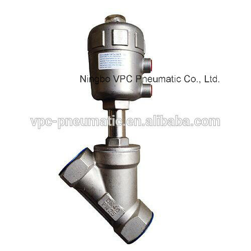 2 Way Full Stainless Steel Angle Seat Valve with Pneumatic Actuator
