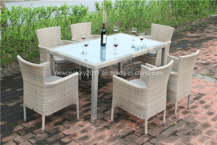 Outdoor Rattan Rectangle Dining Table and Garden Wicker Chair
