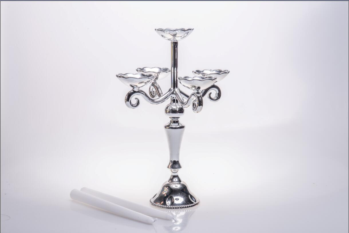Siliver Glass Candle Holder for Wedding Decoration with Five Poster