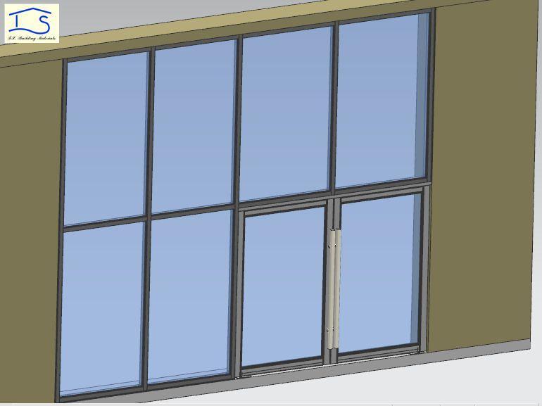 Double Glazing Thermal Broken Aluminum Storefront Door