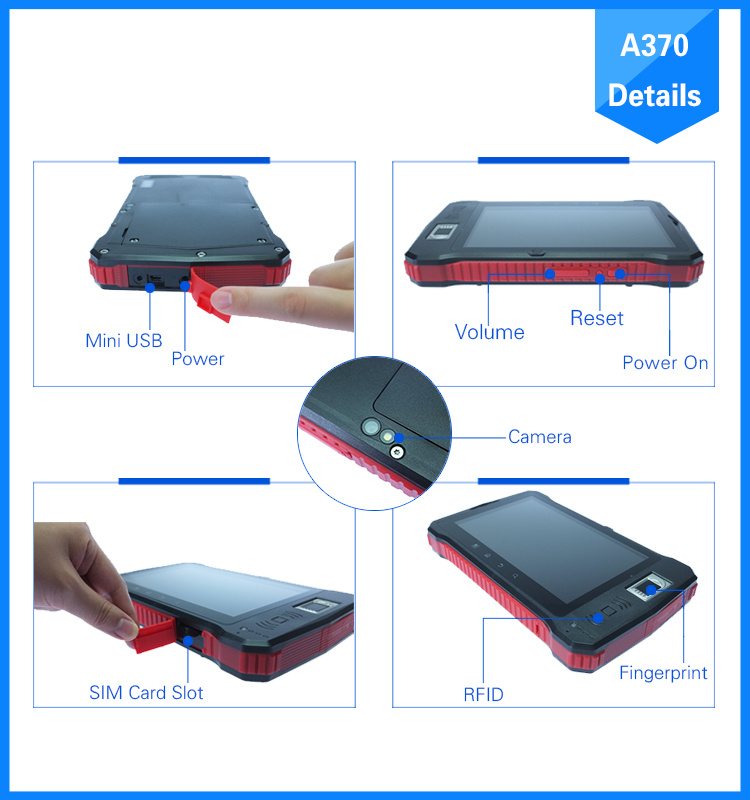 New 2016 industrial Rugged 7 Inch 4G Android Fingerprint Tablet PC with Hf UHF RFID/Barcode Scanner/Qr Code