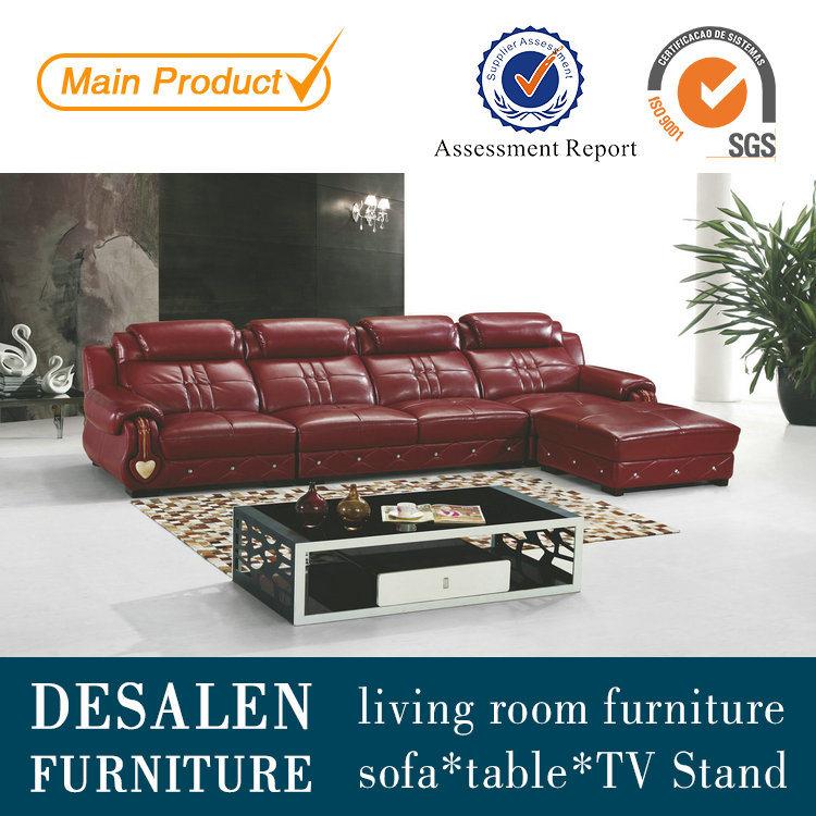 China leather sofa living room furniture factory price for Good quality living room furniture