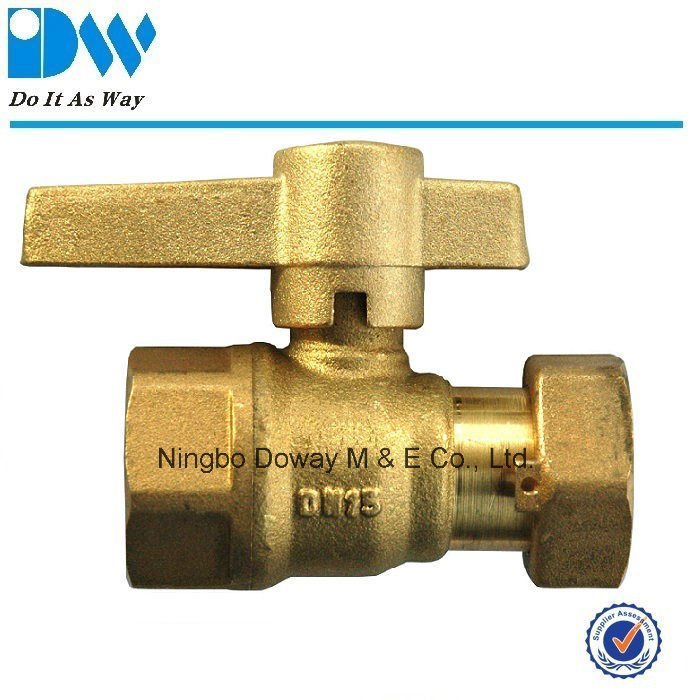Brass Ball Valve for Water Meter with Female and Free Nut