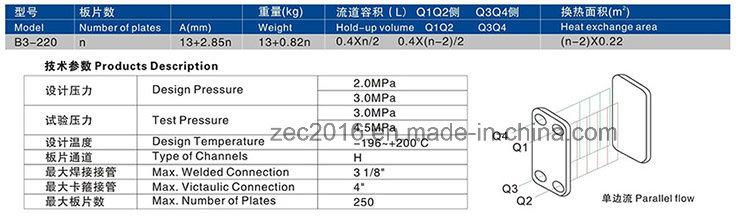 Brazed Plate Heat Exchanger for HVAC, Heat Pump