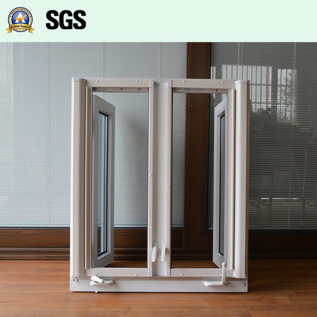 White UPVC Casement Window with Crank Lock, Roller Screen K02055
