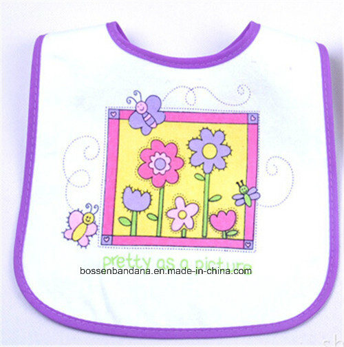 OEM Produce Customized Logo Printed White Cotton Terry Promotional Baby Bibs