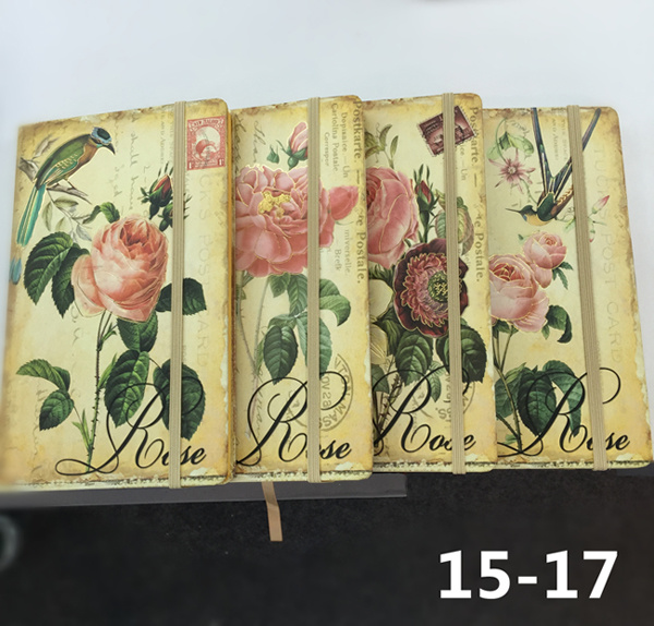 Printed PU Leather Cover Agenda Notebook with Elastic Strap Closure