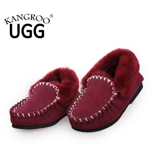 Classic Moccasin Sheepskin Fur Home Shoes for Women in Red
