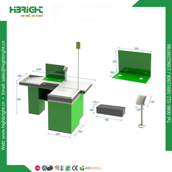 Super Market Check out Table Cash Counter with Lamp Post