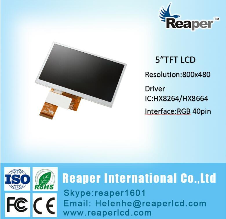 5inch WVGA 800*480 Resolution RGB Interface TFT LCD Module for POS/Industrial/Medical/Car Series