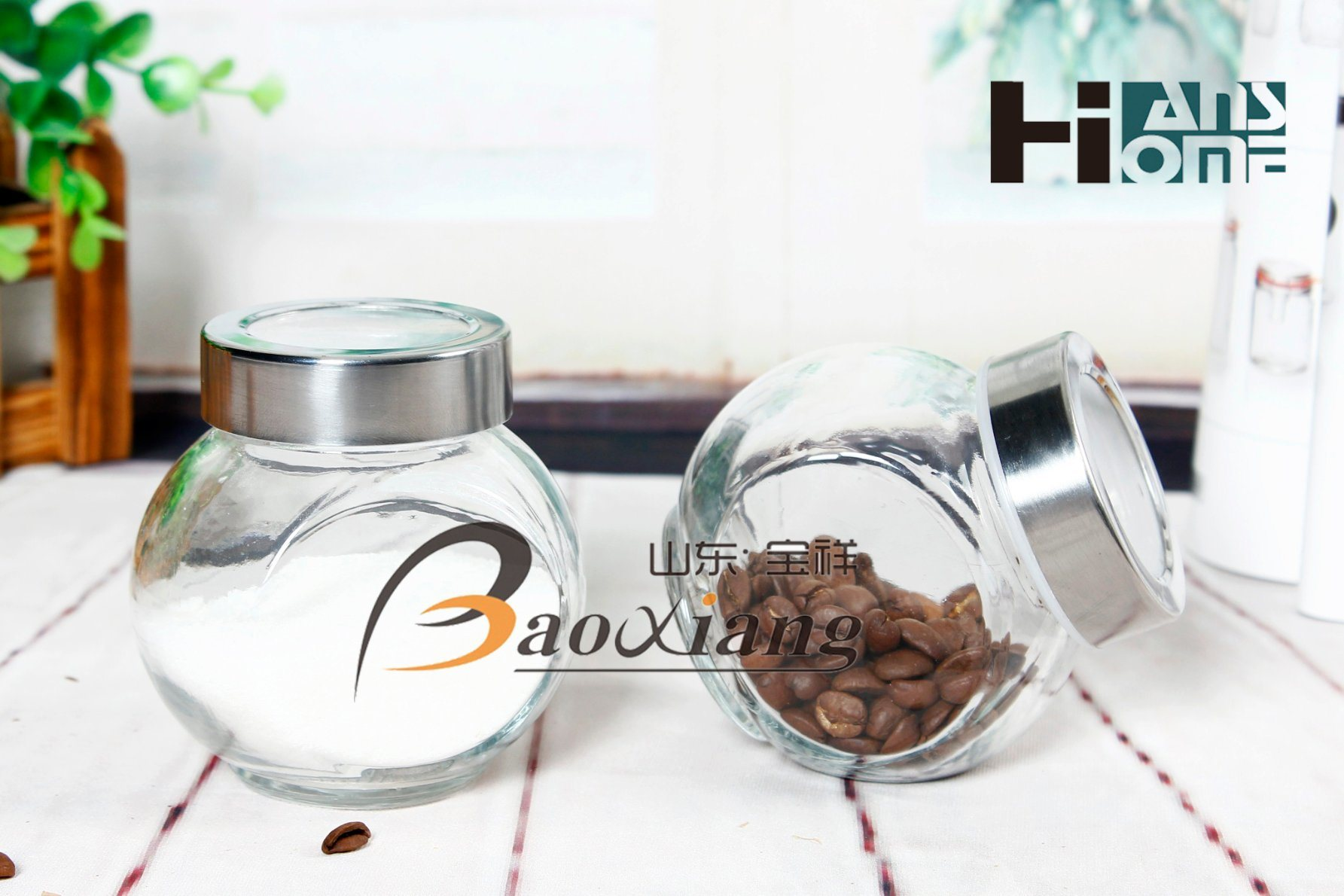 8*6*8 Size Seasoning Small Size Clear Glass Jar with Any Material of Lid