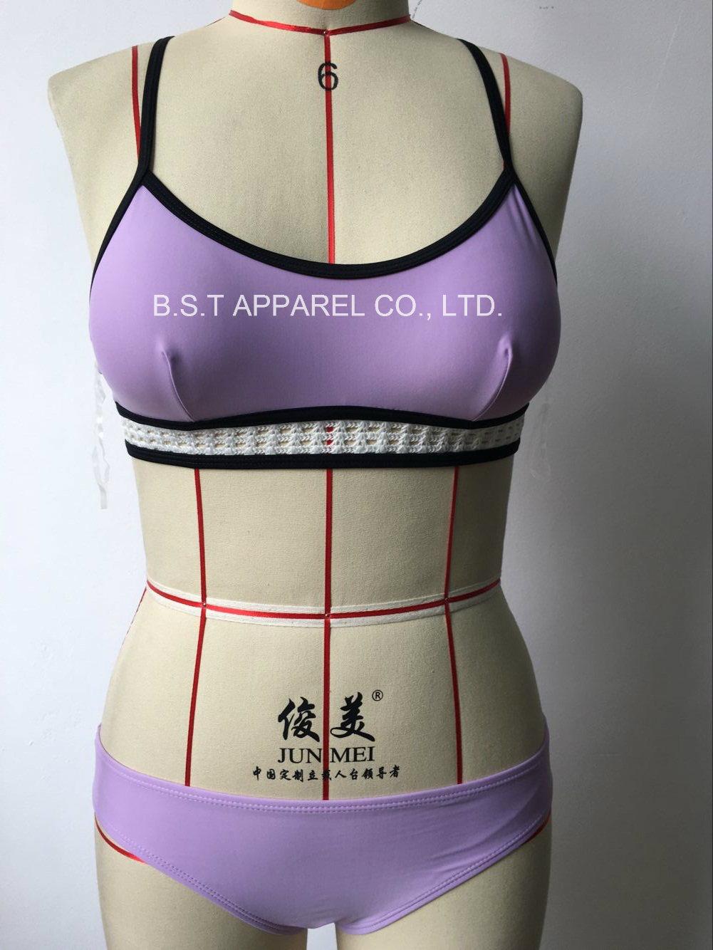 Sexy Ladies Crochet Two-Piece Bikini Swimwear (QG-6182-2M)