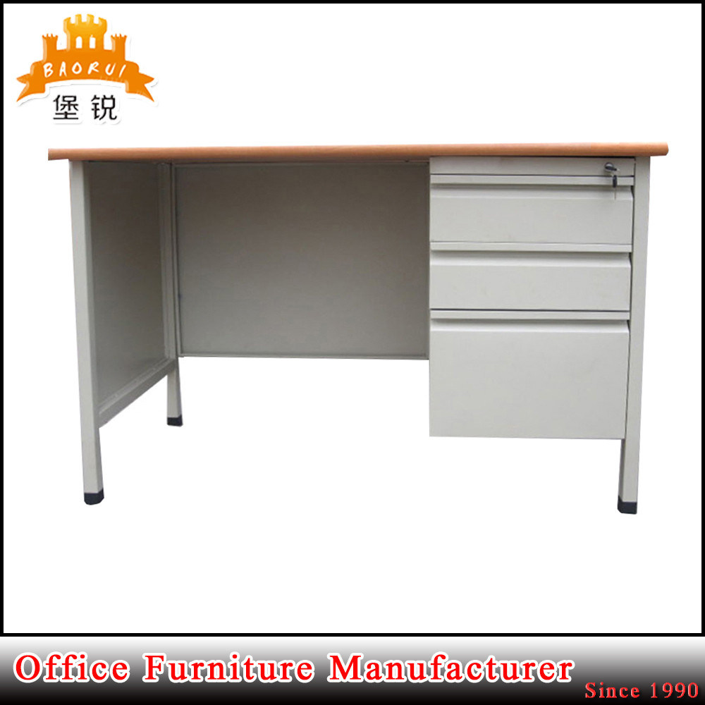 Modern 3 Drawer Office Furniture Metal and MDF Panel Cheap Computer Steel Office Desk