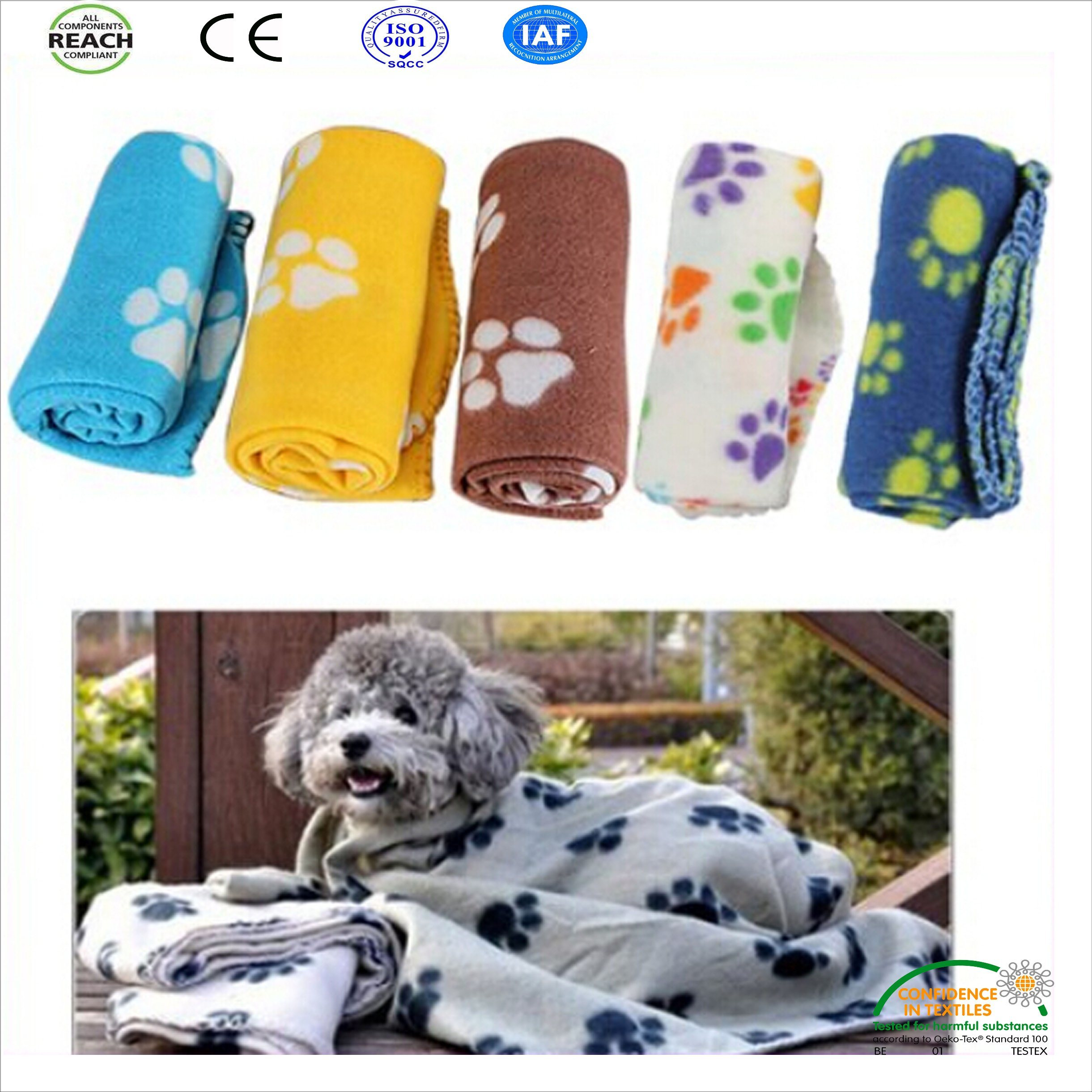 Paw Printed Polar Fleece Pet Blanket for Dog and Cat