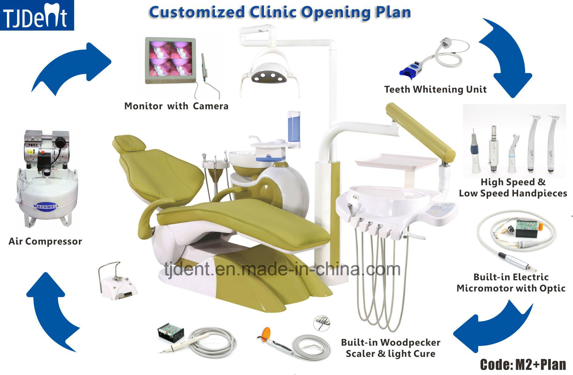 German Grade Steady & Secure Design Dental Unit with Customized Clinic Opening Plan (M2+Plan)
