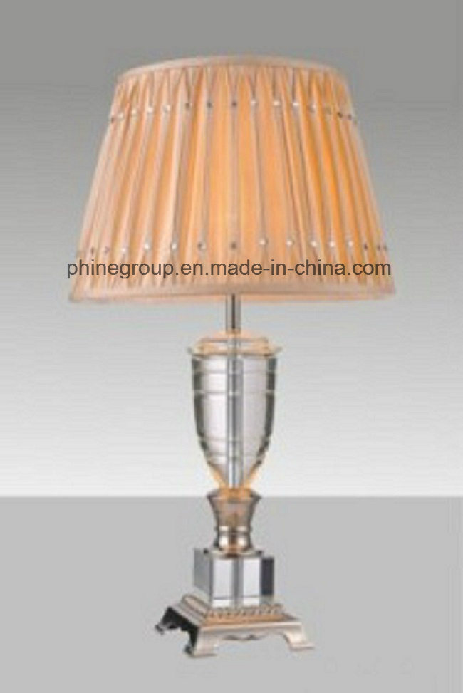 Phine Crystal Desk Lamp / Table Lamp with Fabric Shade for Home Lighting or Hotel Lighting