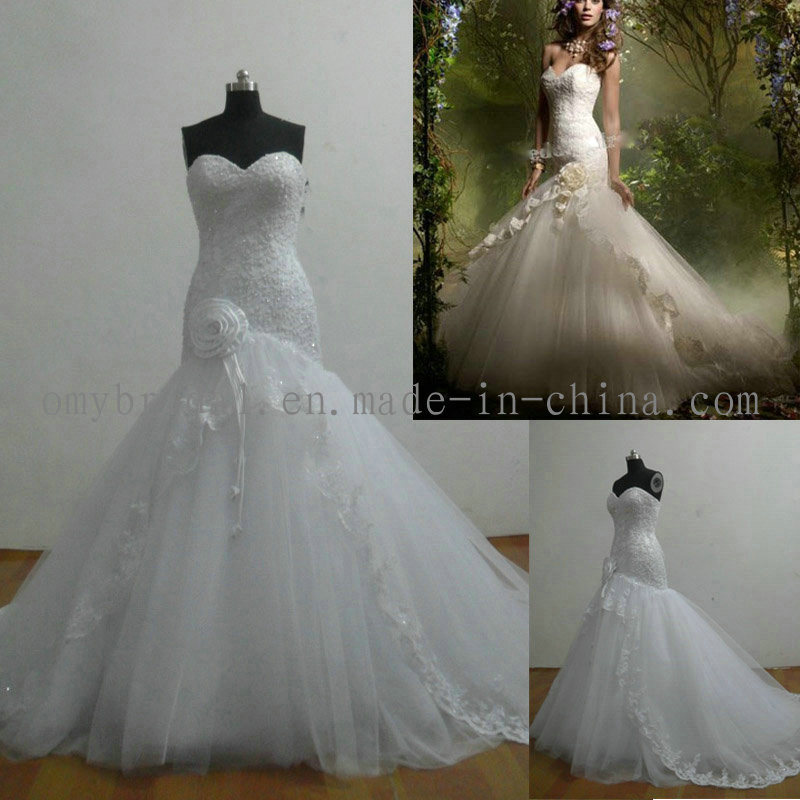 China real sample mermaid tulle bridal dress r020 for True mermaid wedding dresses