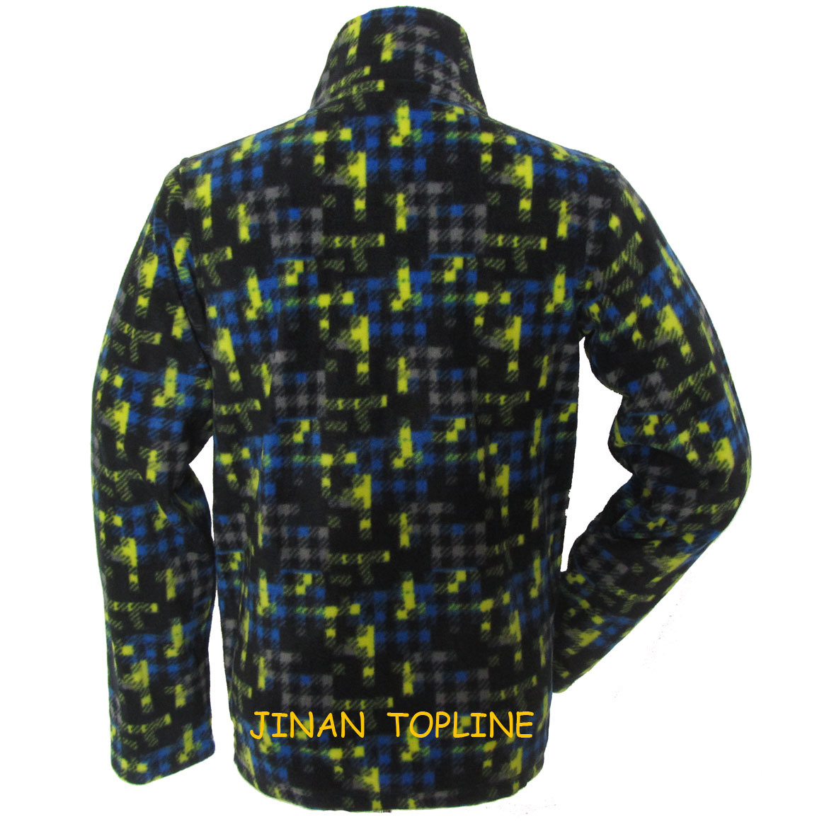 Men Long Sleeve Printed Micro Fleece Sports Leisure Jacket