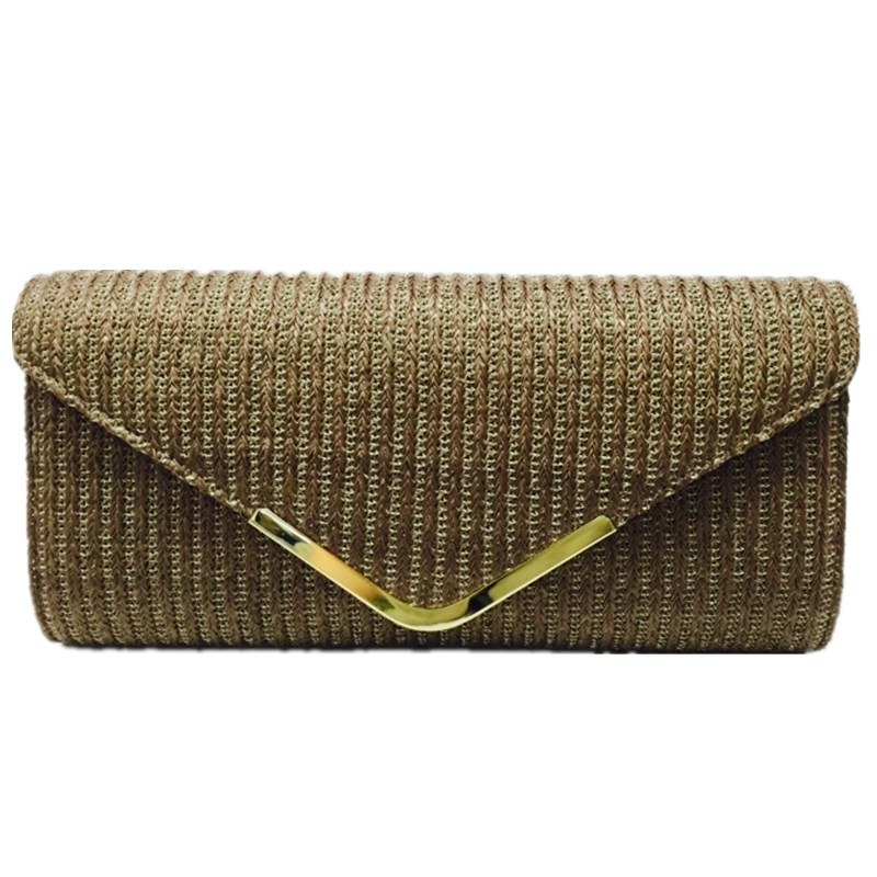 Brown clutch Woven Fashion Bag Ladies Eveningbag