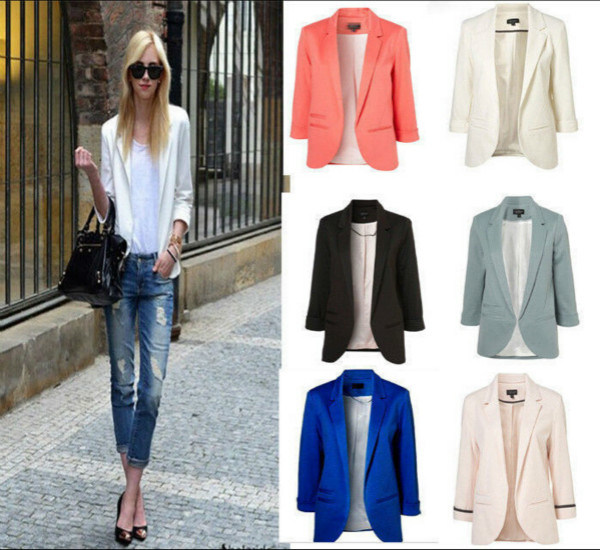 Hot! ! New Fashion 6 Colors Women Candy Color Seventh Volume Sleeve Jacket Blazer
