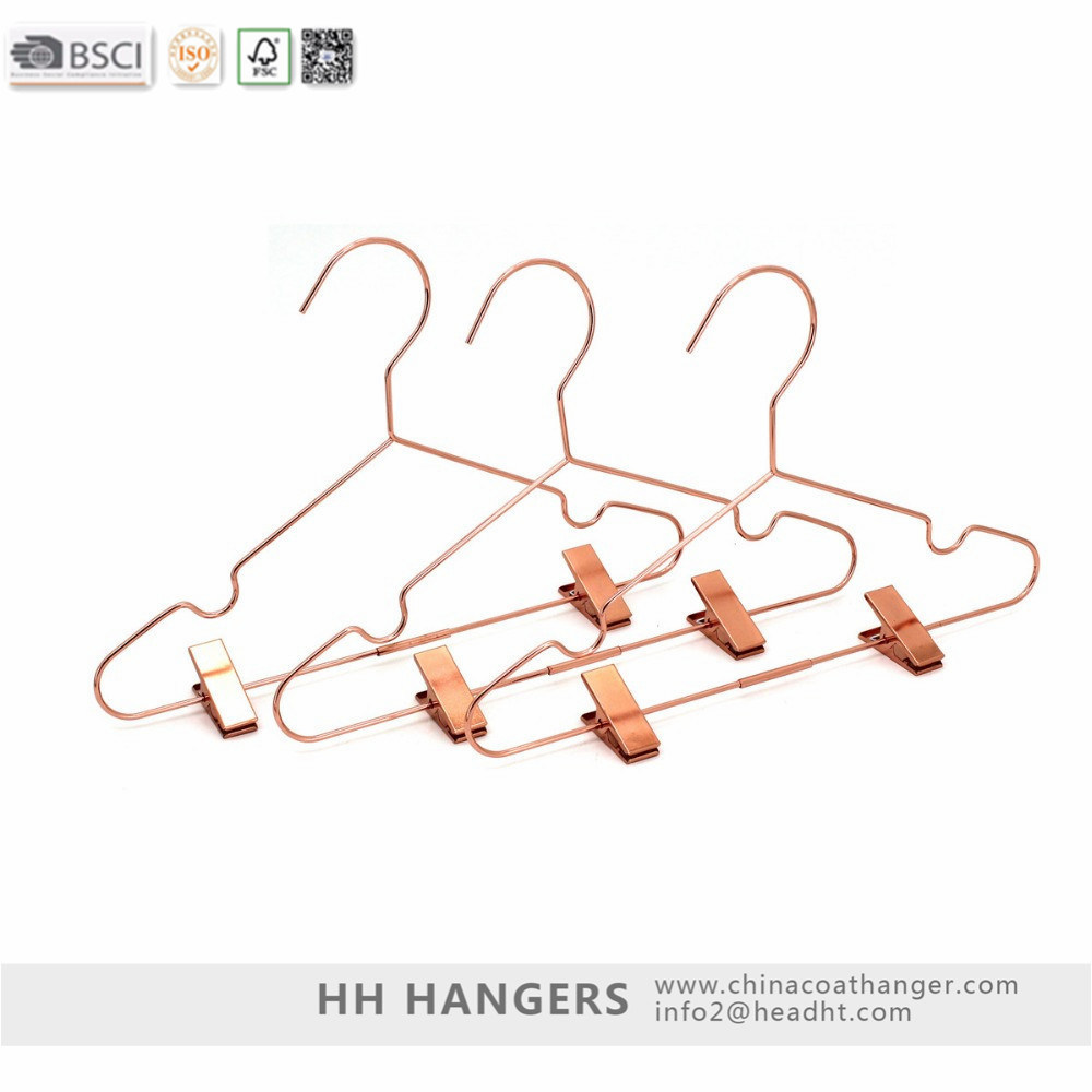 Rose Gold Drying Metal Wire Clothes Hanger with Clips Hangers for Jeans