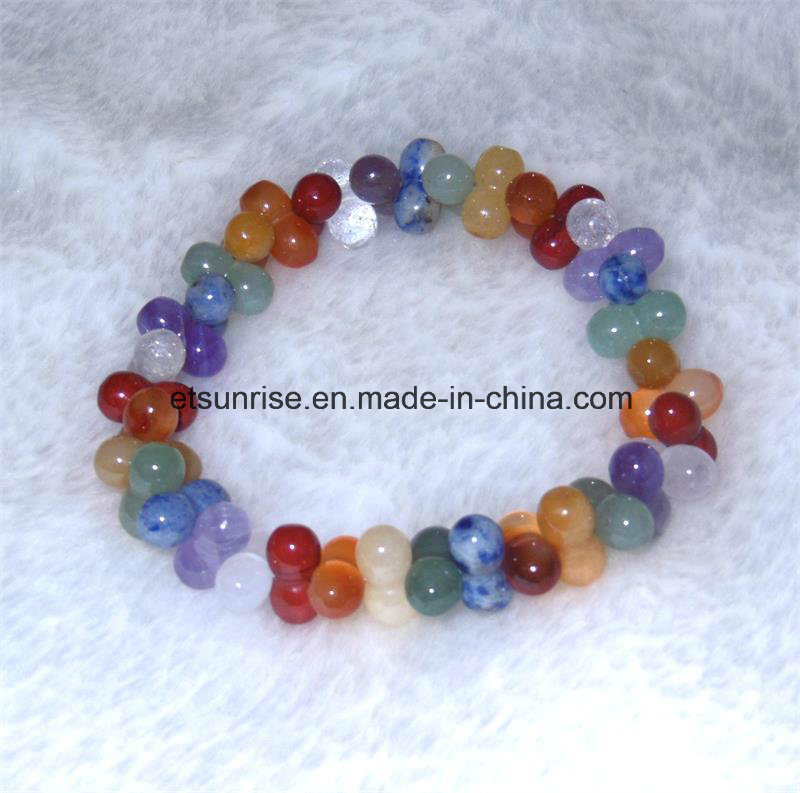 Semi Precious Stone Fashion Crystal Beaded Bracelet Jewelry