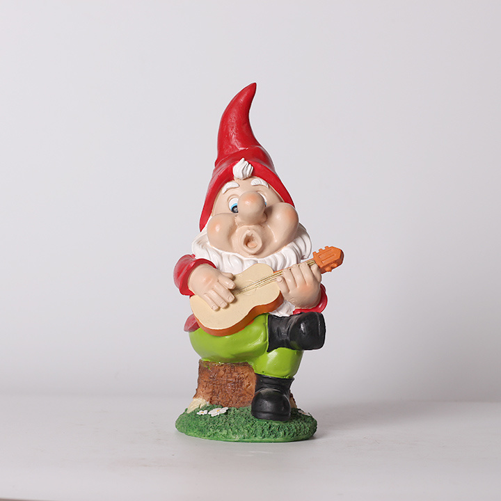 Resin Gnome Playing Guitar Garden Decor