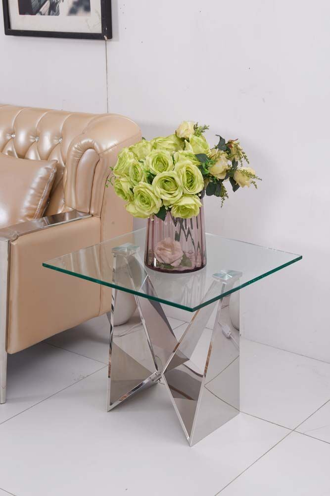 Mirror Glass Design Stainless Steel Base Corner Side Table
