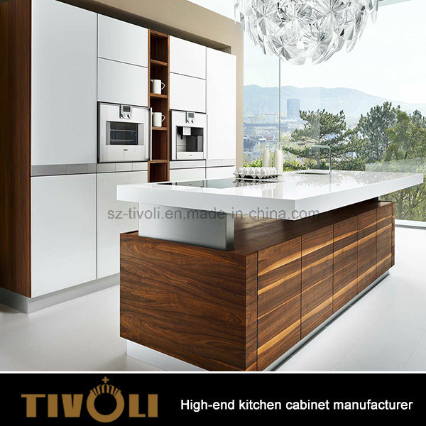 Wood Veneer Mixing White Painting High Gloss Finishing Kitchen Cabinets Tivo-0007V