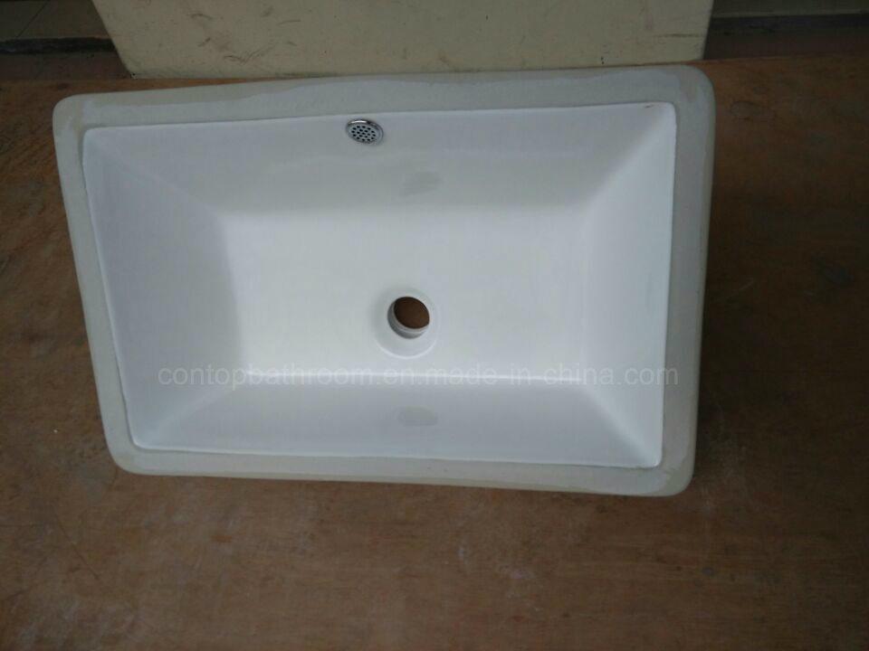 Sanitary Ware Bathroom Under-Mount Basin Square Insert Ceramic Washing Basin
