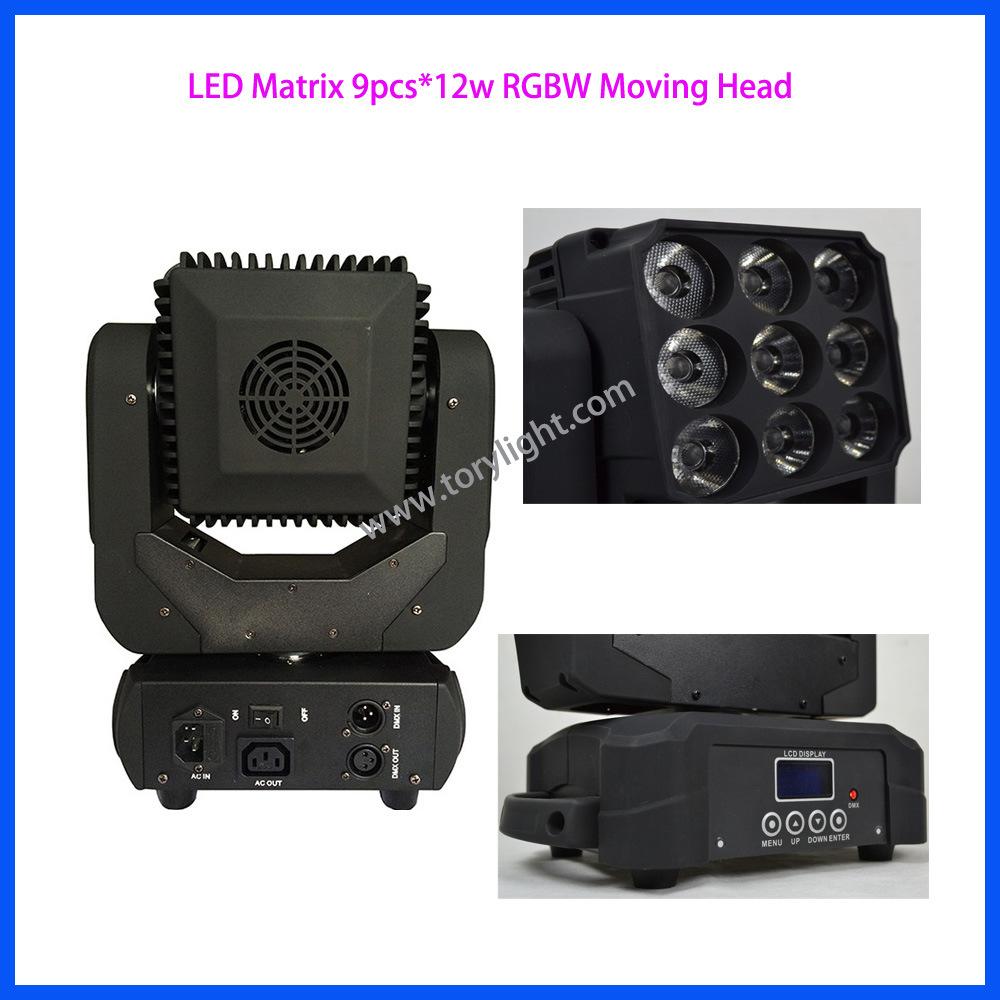 LED Bulb 9PCS*12W RGBW Matrix Moving Head Light