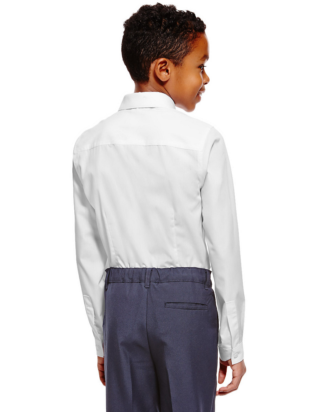 School Slim Fit Boys′ Long Sleeve Shirts with Stain Away