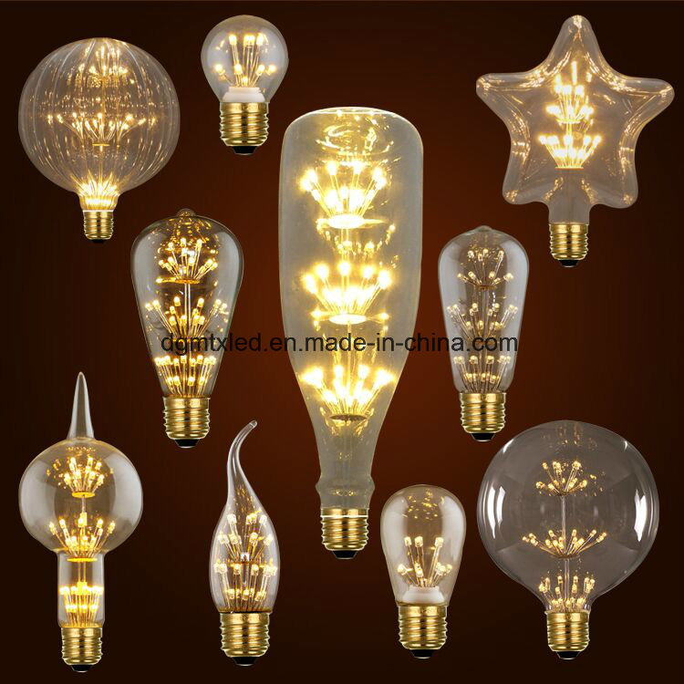 MTX 3W LED Light Bulb Squirrel Cage Vintage glass Edison Style E27 220V LED Bulb LED Filament lamp warm white for Home Decoration