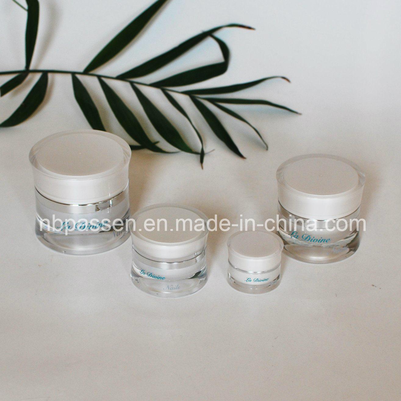 New 5/15/30/50g Pearl White Acrylic Waist Cosmetic Cream Jar (PPC-NEW-113)