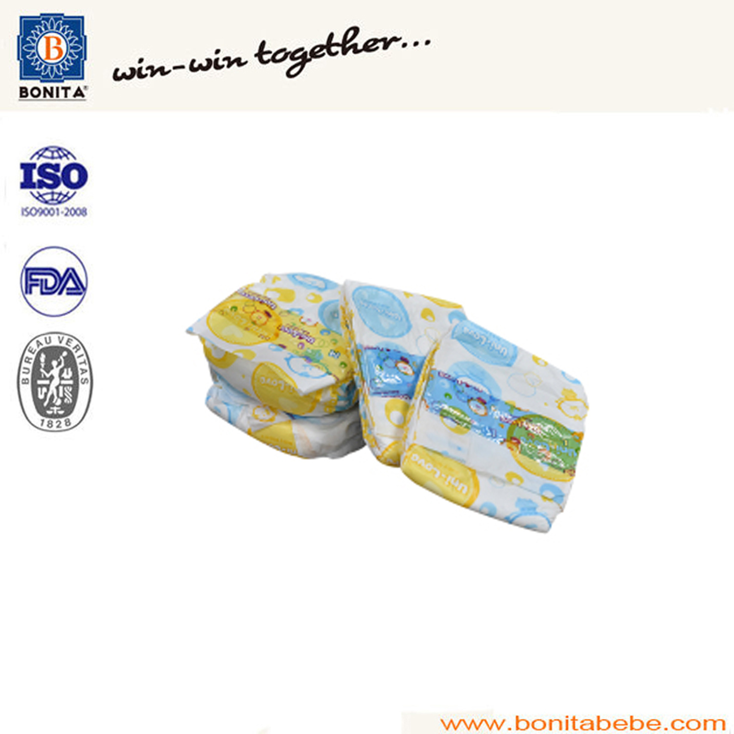 100% Cotton Disposable PE Film Baby Nappy with PP Tape