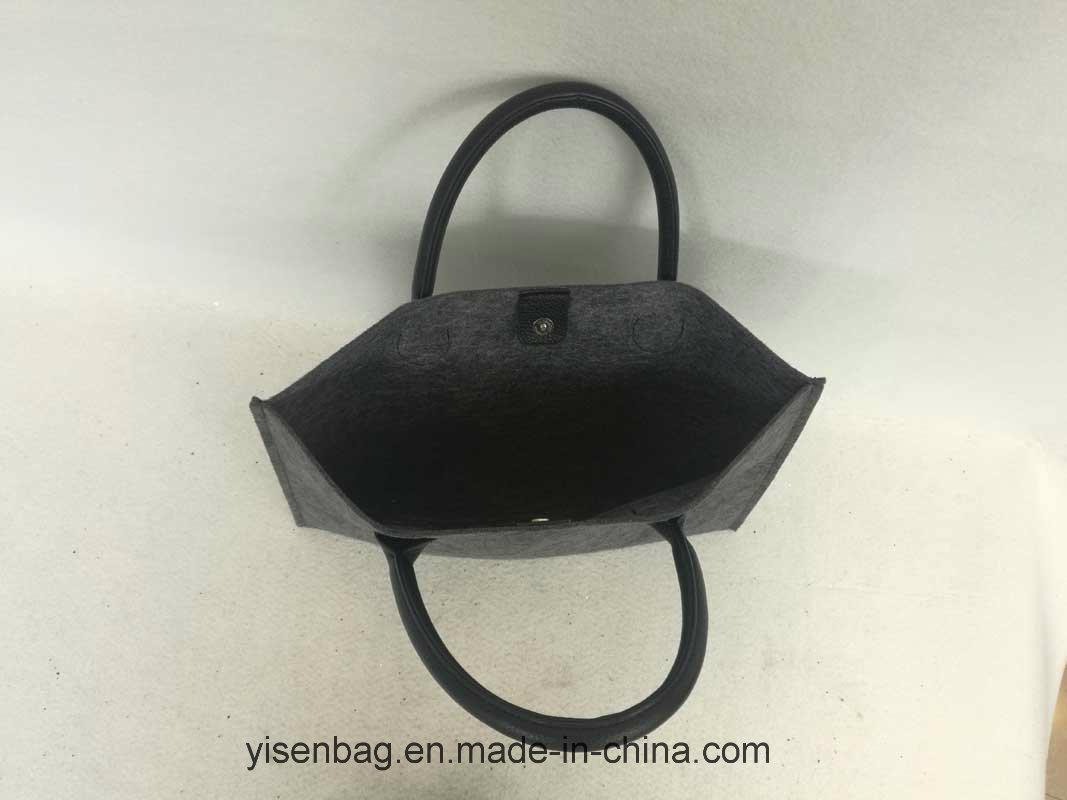 Fashion Business File PU Tote Felt Handbag