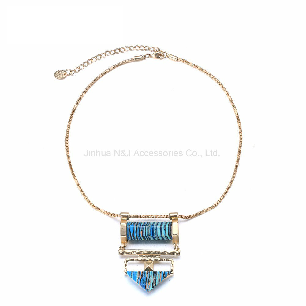 Fashion Vintage Geometric Choker Chain Necklaces & Pendants Women Turquoise Natural Stones Blue Imitation Jewelry