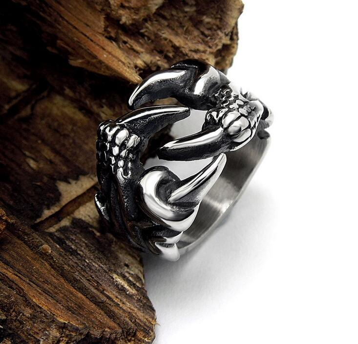 Vintage Silver Dragon Paw Male Ring Gothic Punk Stainless Steel
